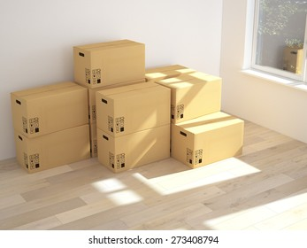 3d Interior with moving boxes. 3d rendering