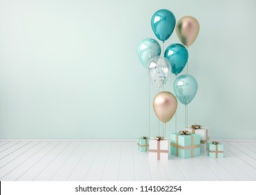 3D interior render with blue and golden balloons, gift boxes. Pastel glossy composition with empty space for birthday, party or other promotion social media banners, text. Poster size illustration.