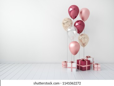 3D interior render with plum and pink balloons, gift boxes. Realistic glossy composition with empty space for birthday, party or other promotion social media banners, text. Poster size illustration.