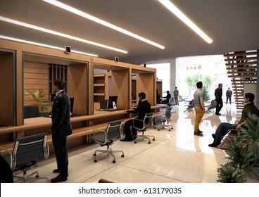 3d Interior Rendering   Bank   Inside View