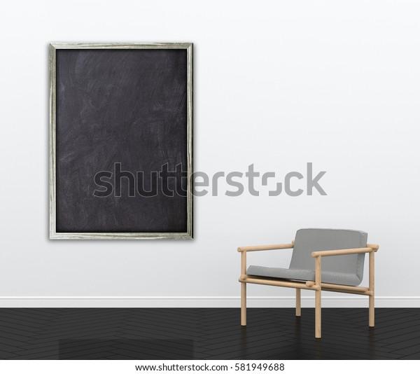 3d interior rendering of blank blackboard frame and wooden armchair