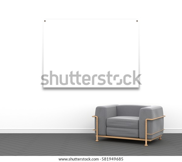 3d interior rendering of blank poster frame and gray textile armchair