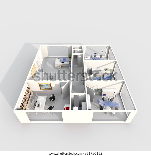 3d interior rendering of dental clinic with three dental chairs