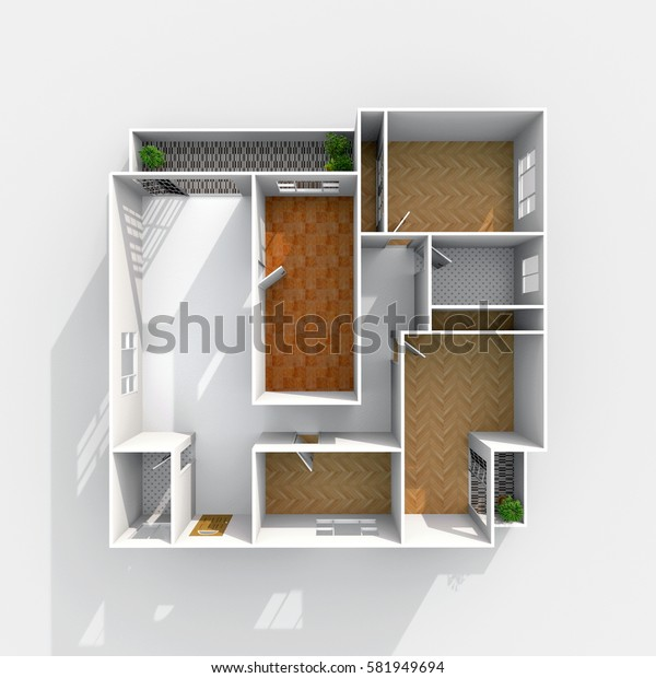 3d interior rendering of empty home flat apartment with floor materials