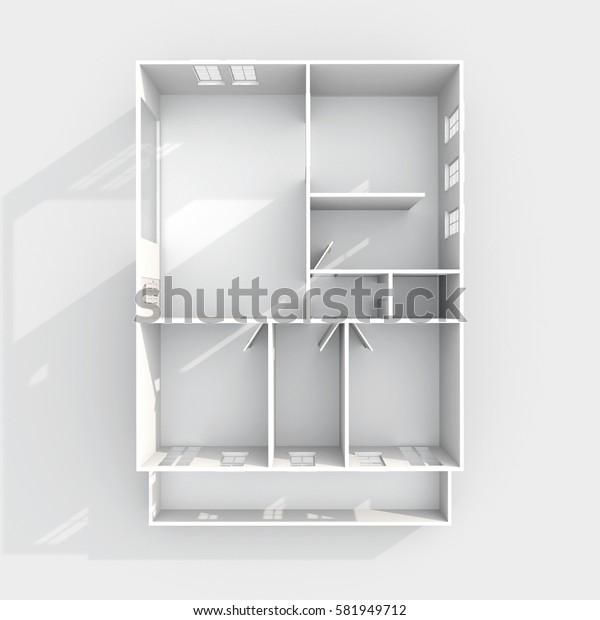 3d interior rendering of empty paper model home flat apartment