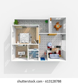 3d interior rendering of furnished home apartment