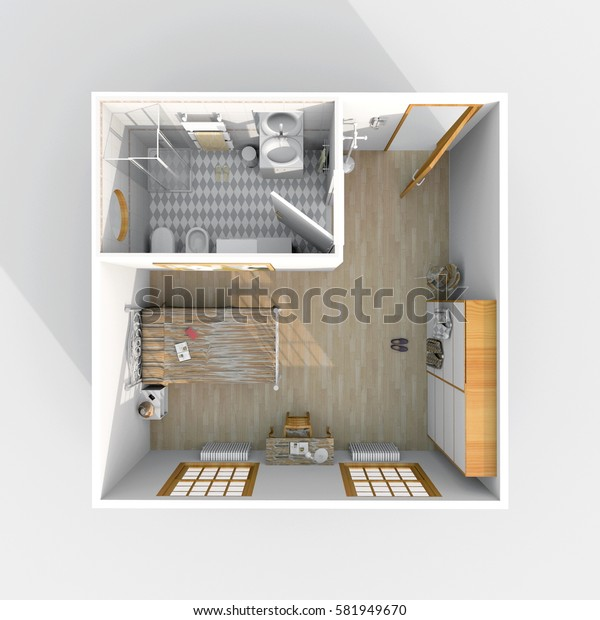 3d interior rendering of furnished hotel room flat apartment