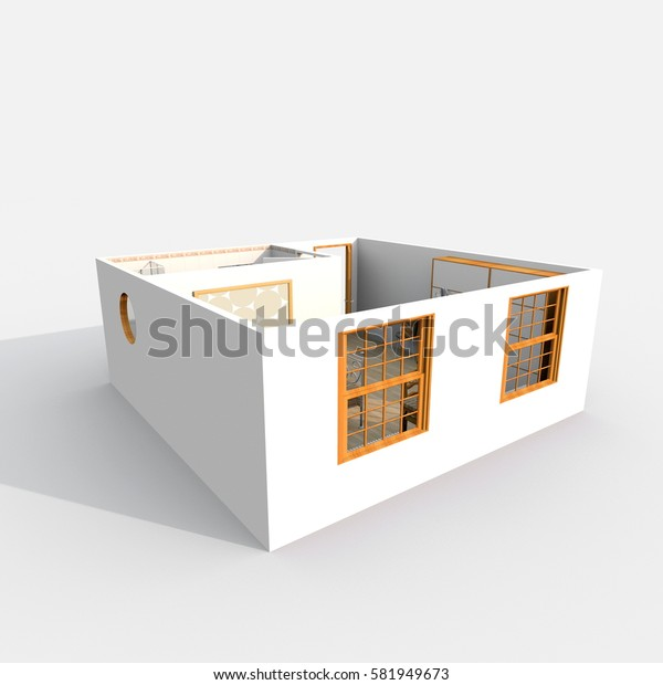 3d interior rendering of furnished hotel room apartment