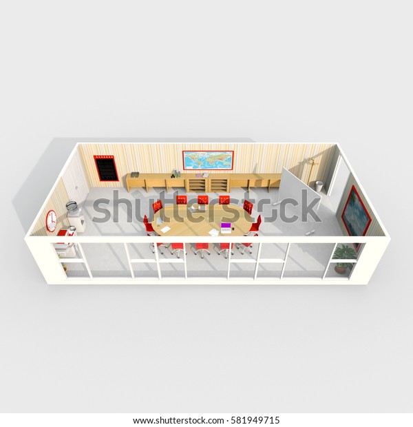 3d interior rendering of furnished meeting room with oval table
