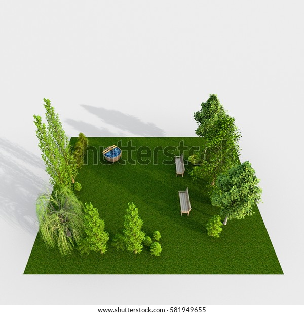 3d interior rendering of green park with trees and benches