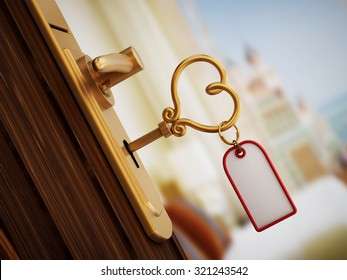 3D interior rendering. Heart shaped hotel room key on the door.
