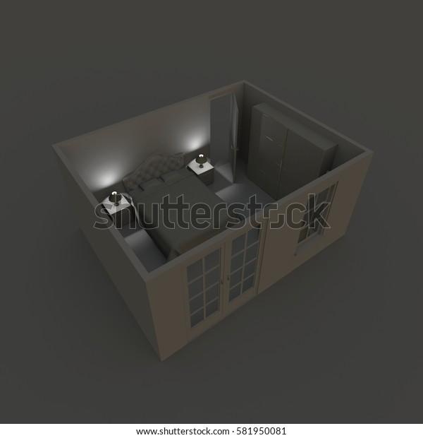 3d interior rendering of illuminated bedroom by night