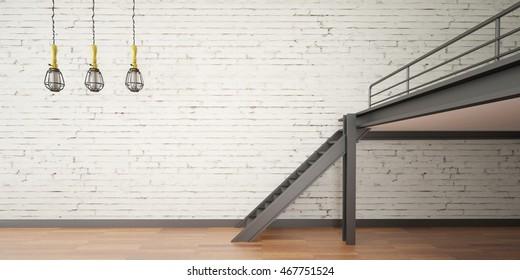 3d interior rendering industrial Mezzanine space and wood floor and Loft design