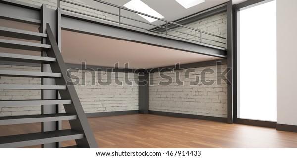 3D-Inneneinrichtung Rendering Industrie Mezzanine Raum und ...
