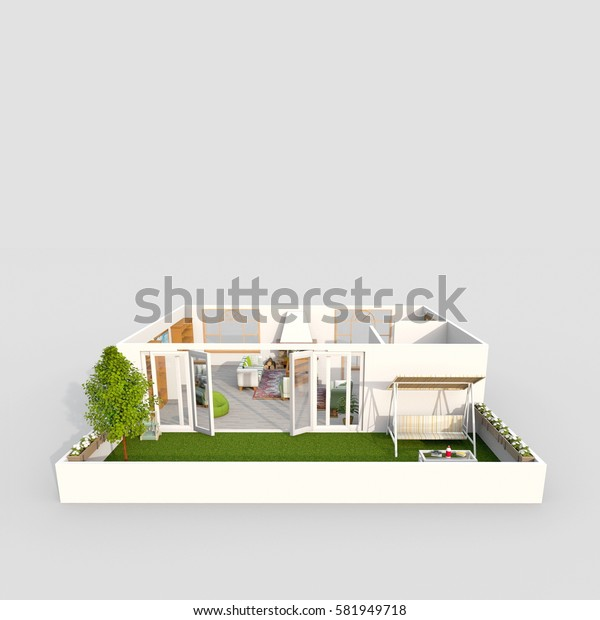3d interior rendering of modern loft furnished with balcony