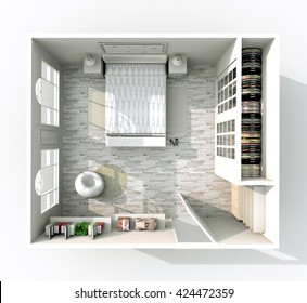 3d interior rendering plan view of furnished bedroom