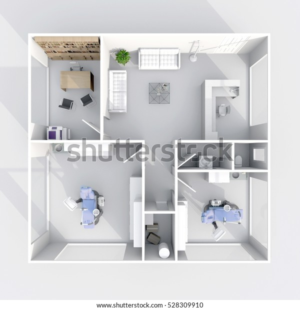 3d Interior Rendering Plan View Dental Stock Illustration 528309910