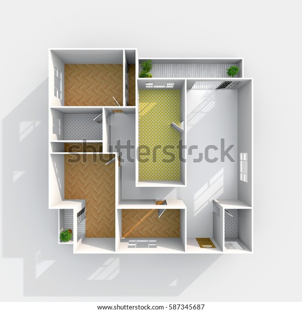 3d interior rendering plan view of empty home apartment with floor materials