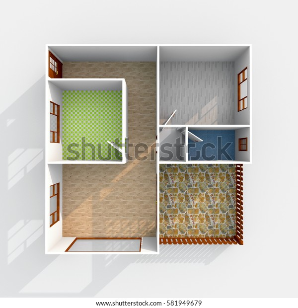 3d interior rendering of square empty home flat apartment with floor materials