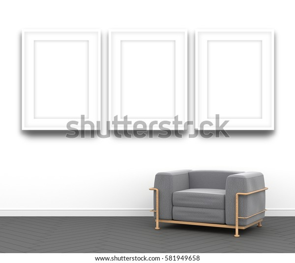 3d interior rendering of three blank white picture frames and gray textile armchair