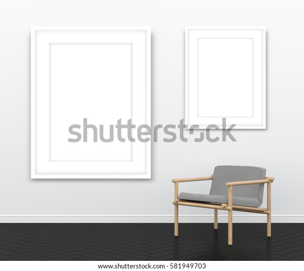 3d interior rendering of two blank white picture frames and wooden armchair