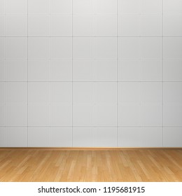 3d interior rendering of white tiles wall and wooden floor