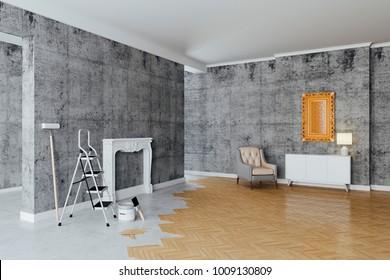 3d interior room decoration process