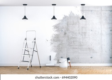 3d interior room with empty wall ready to be painted