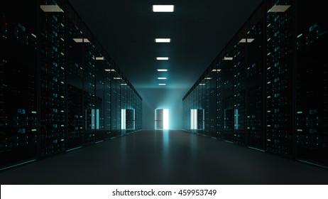 3D interior scene, with server rack and an open exit door, freedom of cloud computing concept.