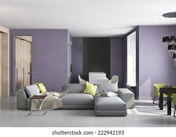 3d interior of small flat with bright design