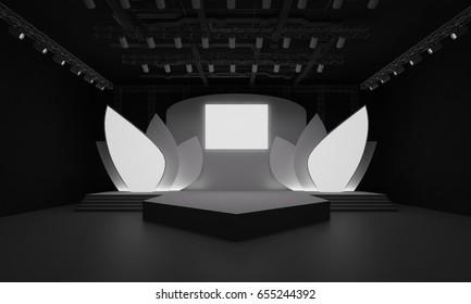 3D interior stage event led tv light night staging render illustration