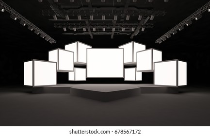 3D interior stage event led tv light night staging render illustration