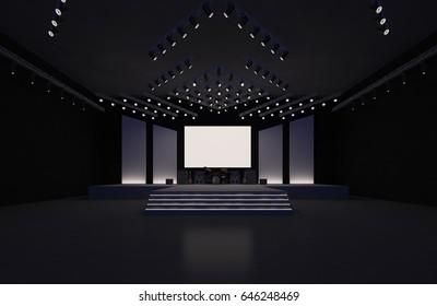 3D interior stage event music led tv light night staging render illustration