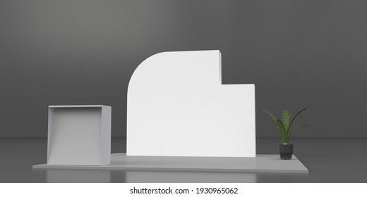 3D interior stage event render illustration mockup. 3d render. Virtual exhibition, fair design. Empty