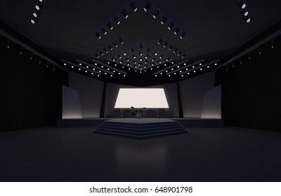 3D interior stage music event led tv light night staging render illustration