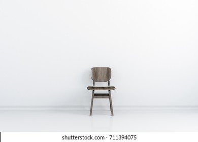 3d interior with white wall and wooden chair