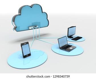 3d internet cloud concept . 3d rendered illustration