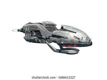3D interstellar military drone with afterburner propulsion jets for futuristic deep space travel or science fiction backgrounds, with the clipping path included in the illustration.