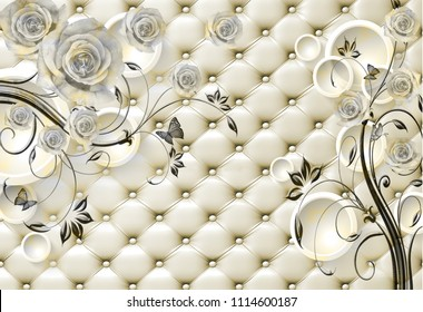 3D Isolated flowers background wallpaper, 3d rendering.