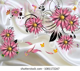 3d Isolated flowers with fabric Background wallpaper.
