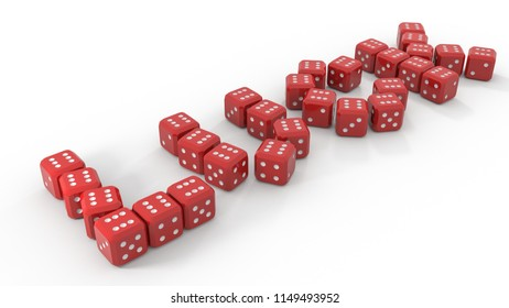 3d isolated game dices in form of luck word