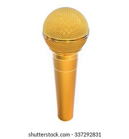 3D Isolated Golden Microphone