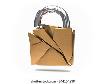 3D Isolated Security Broken Padlock. No protection or insecurity concept.