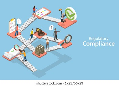 3D Isometric Flat Concept of Regulatory Compliance, Steps That Are Needed to Be Complied With Relevant Laws, Policies and Regulations.