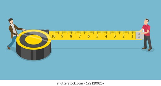 3D Isometric Flat Conceptual Illustration of Construction and Repair. Two Men are Holding Measuring Tape.