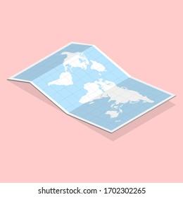 3D Isometric Flat Illustration of Paper Map.
