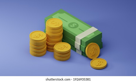 3D isometric illustration of money with coins