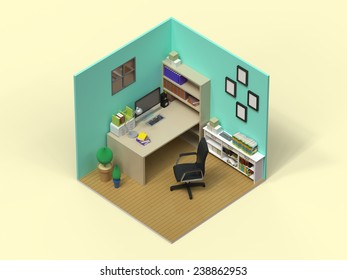 3d isometric interior for study room