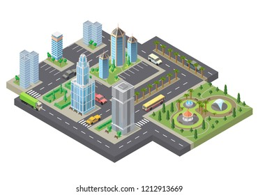 3d isometric megapolis, city. Collection of skyscrapers, buildings and parking places with green park, palm trees. Streets with traffic - cars, automobiles