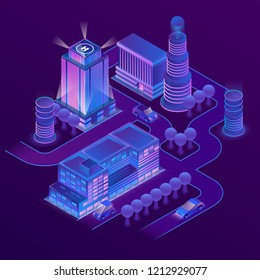3d isometric megapolis, city in violet colors. Collection of houses, skyscrapers, buildings with ultraviolet lighting. Streets with traffic - cars, automobiles